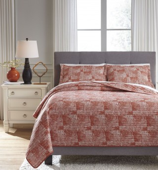Ashley Jabesh Orange King Quilt Set Available Online in Dallas Fort Worth Texas