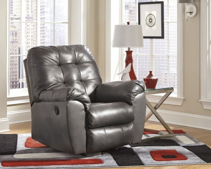 Ashley Alliston DuraBlend Grey Rocker Recliner Available Online in Dallas Fort Worth Texas