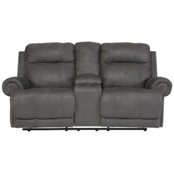 Ashley Austere Gray Loveseat With Console Available Online in Dallas Fort Worth Texas