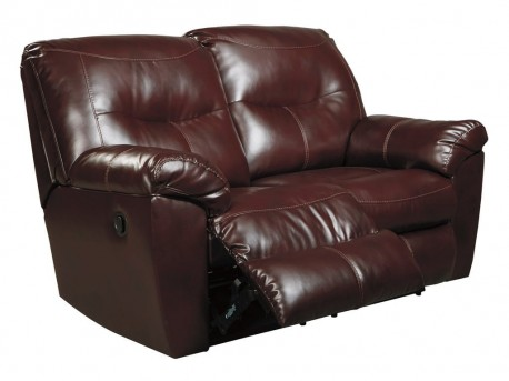 Ashley Kilzer DuraBlend Mahogany Reclining Loveseat Available Online in Dallas Fort Worth Texas