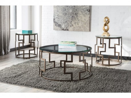 Ashley Frostine Dark Bronze Coffee Table Set Available Online in Dallas Fort Worth Texas