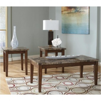 Ashley Theo 3pc Warm Brown Coffee Table Set Available Online in Dallas Fort Worth Texas