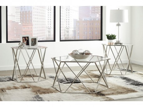Ashley Madanere 3pc Chrome Coffee Table Set Available Online in Dallas Fort Worth Texas