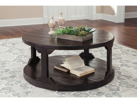 Ashley Rogness Rustic Brown Round Cocktail Table Available Online in Dallas Fort Worth Texas