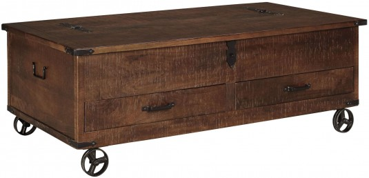 Ashley Norlandon Medium Brown Storage Cocktail Table Available Online in Dallas Fort Worth Texas