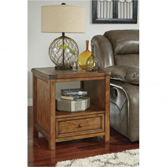 Ashley Tamonie Medium Brown Square End Table Available Online in Dallas Fort Worth Texas