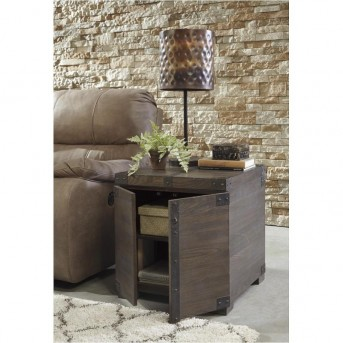 Ashley Burladen Grayish Brown Square End Table Available Online in Dallas Fort Worth Texas