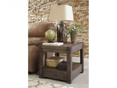 Ashley Burladen Grayish Brown Rectangular End Table Available Online in Dallas Fort Worth Texas
