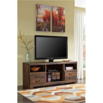 Ashley Quinden Dark Brown Large TV Stand With Fireplace Available Online in Dallas Fort Worth Texas