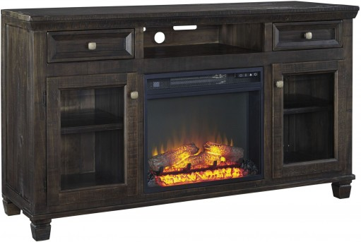 Ashley Townser Grayish Brown Large TV Stand With Fireplace Available Online in Dallas Fort Worth Texas