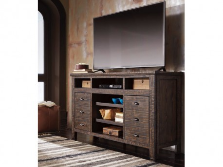 Ashley Trudell Dark Brown TV Console Available Online in Dallas Fort Worth Texas