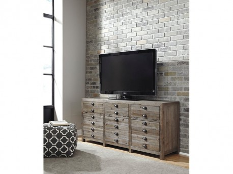 Keeblen Grayish Brown Extra Large TV Stand Available Online in Dallas Fort Worth Texas