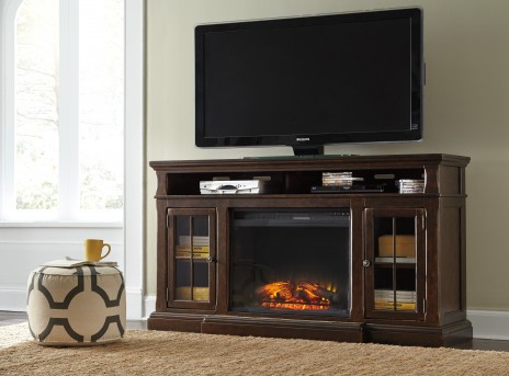 Ashley Roddinton Dark Brown Extra Large TV Stand With Fireplace Available Online in Dallas Fort Worth Texas