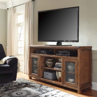 Tamonie Rustic Brown Extra Large TV Console with Fireplace Available Online in Dallas Fort Worth Texas