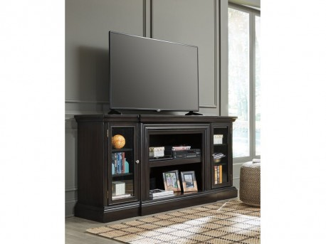 Carlyle Black TV Stand with Fireplace Available Online in Dallas Fort Worth Texas