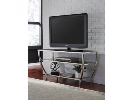 Ashley Blasney Black/Chrome TV Stand Available Online in Dallas Fort Worth Texas