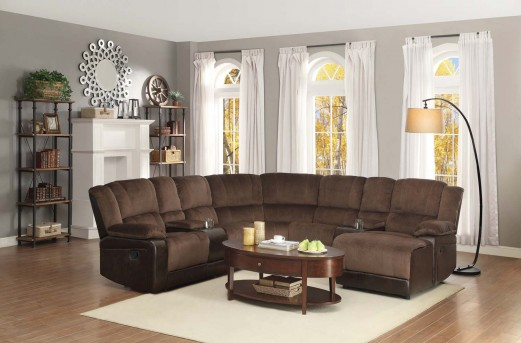 Homelegance Hankins Dark Brown Right Arm Facing Reclining Chaise Available Online in Dallas Fort Worth Texas