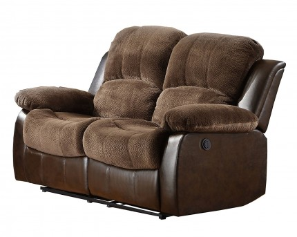 Homelegance Cranley Chocolate 2-Tone Power Double Reclining Loveseat Available Online in Dallas Fort Worth Texas