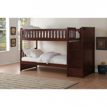 Homelegance Rowe Dark Cherry Twin/Twin Bunk Bed with Step Storage Available Online in Dallas Fort Worth Texas