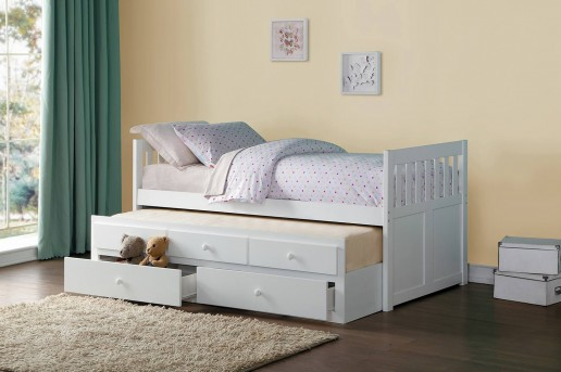 Galen White Twin Trundle Bed with 2 Storage Drawer Available Online in Dallas Fort Worth Texas
