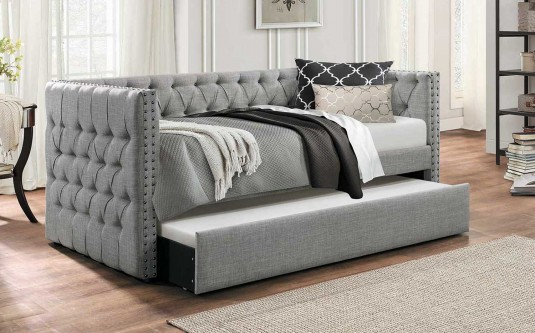 Homelegance Adalie Grey Button Tufted Upholstered Daybed with Trundle Available Online in Dallas Fort Worth Texas