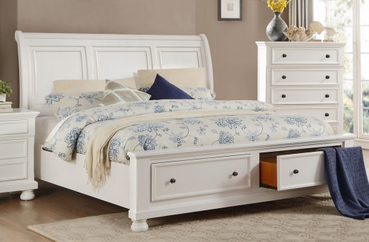 Homelegance Laurelin White Queen Sleigh Platform Bed Available Online in Dallas Fort Worth Texas