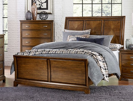 Homelegance Terron Medium Oak Queen Sleigh Bed Available Online in Dallas Fort Worth Texas