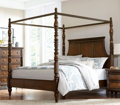 Homelegance Verlyn Cherry King Canopy Bed Available Online in Dallas Fort Worth Texas