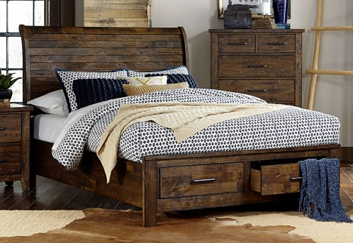 Homelegance Jerrick Burnished Queen Sleigh Platform Bed Available Online in Dallas Fort Worth Texas