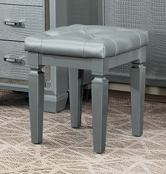 Homelegance Allura Silver Vanity Stool Available Online in Dallas Fort Worth Texas