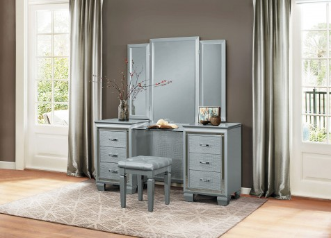 Homelegance Allura Silver Vanity With Mirror Available In Dallas Fort Worth Texas
