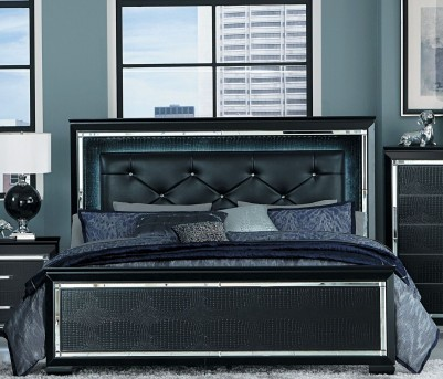 Homelegance Allura Black King Upholstered Panel Bed Available Online in Dallas Fort Worth Texas
