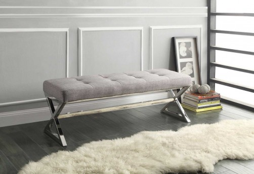 Homelegance Rory Grey Linen X-Base Bench Available Online in Dallas Fort Worth Texas