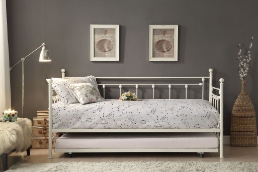 Homelegance Lorena White Metal Daybed with Trundle Available Online in Dallas Fort Worth Texas