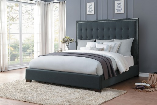 Homelegance Jervis Dark Grey Upholstered Queen Bed Available Online in Dallas Fort Worth Texas