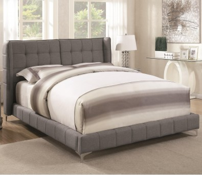 Coaster Goleta Light Gray Queen Upholstered Platform Bed Available Online in Dallas Fort Worth Texas