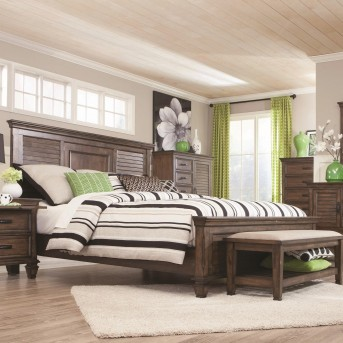 Coaster Franco Burnished Oak Queen Panel Bed Available Online in Dallas Fort Worth Texas