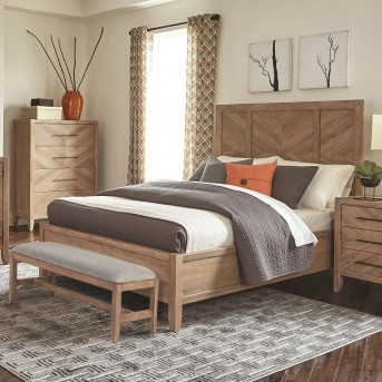 Coaster Auburn White Washed Natural Queen Panel Bed Available Online in Dallas Fort Worth Texas