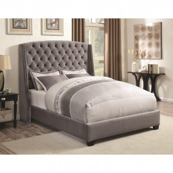 Coaster Pissarro Grey Velvet Upholstered Cal King Bed Available Online in Dallas Fort Worth Texas
