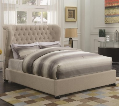 Coaster Newburgh Beige King Upholstered Platform Bed Available Online in Dallas Fort Worth Texas