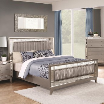 Coaster Leighton Metallic Mercury King Panel Bed Available Online in Dallas Fort Worth Texas