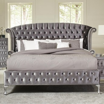 Coaster Deanna Grey King Upholstered Platform Bed Available Online In Dallas Fort Worth Texas