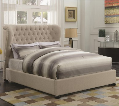 Coaster Newburgh Beige Twin Upholstered Platform Bed Available Online in Dallas Fort Worth Texas
