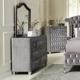 Coaster Deanna Grey Upholstered Mirror Available Online in Dallas Fort Worth Texas