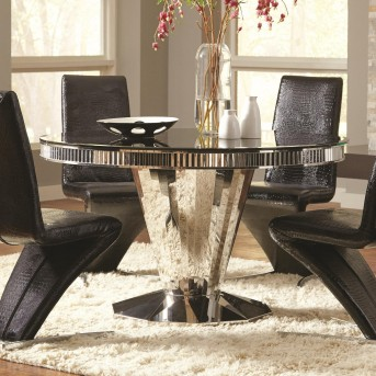 Coaster Barzini Black Stainless Steel Dining Table Available Online in Dallas Fort Worth Texas