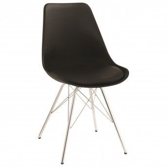 Coaster Lowry Black Dining Chair with Chrome Legs Available Online in Dallas Fort Worth Texas
