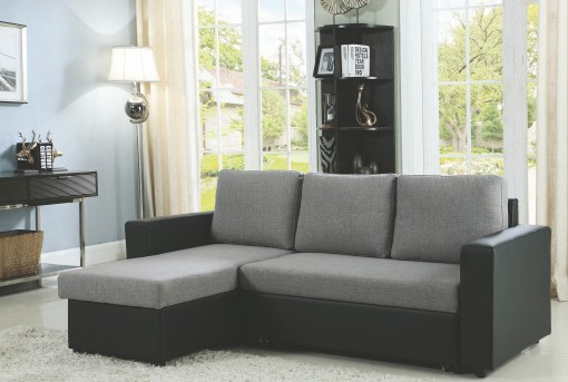 Coaster Baylor Grey and Black Sofa Chaise with Sleeper Dallas TX