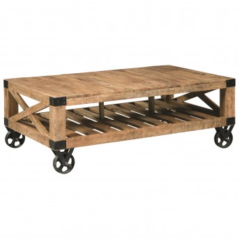 Coaster Scott Natural Rough Mango Coffee Table Available Online in Dallas Fort Worth Texas