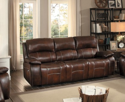 Homelegance Mahala Brown Power Double Reclining Sofa Available Online in Dallas Fort Worth Texas