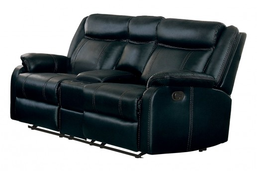 Homelegance Jude Black Double Glider Reclining Loveseat with Console Available Online in Dallas Fort Worth Texas